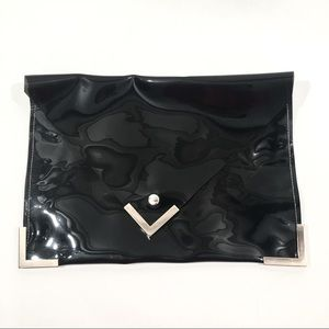Handbags - Black PVC Jelly Envelope Clutch Bag
